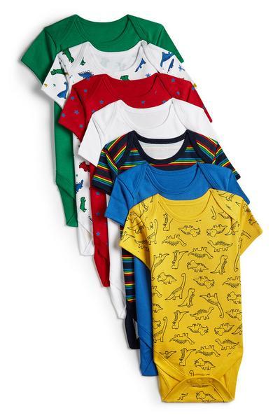 Kurzarm-Bodys mit Dinos für Babys (J), 7er-Pack