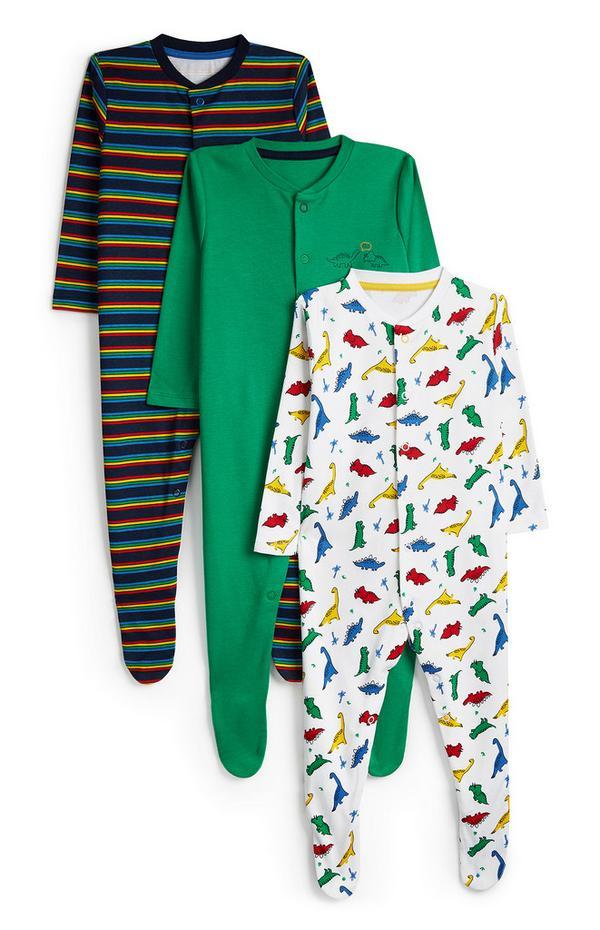 Baby Boy Dinosaur Print Long Sleeve Sleepsuit 3pk