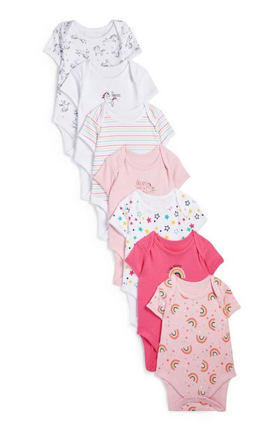 Dekliški rožnat bodi s kratkimi rokavi in mavričnim potiskom za novorojenčke, 7 kosov