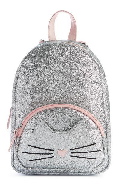 Zaino argento glitterato con stampa gatto