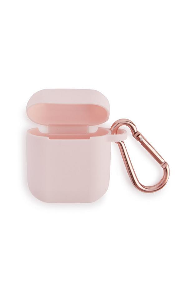 Étui rose pour écouteurs sans fil à mousqueton