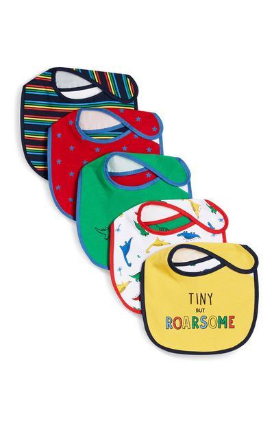 Pack de 5 baberos de colores con estampado de dinosaurios