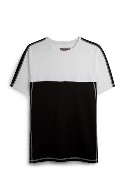 Black And White Color Block Stretch T-Shirt