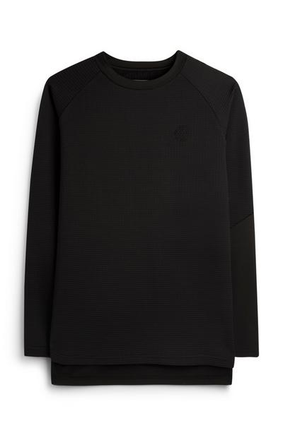 Black Textured Fingerprint Logo Sweater