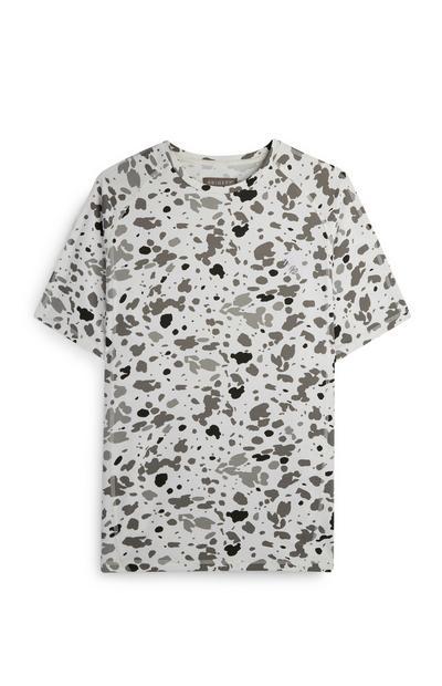 Wit T-shirt stretch met luipaardprint