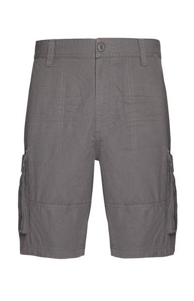 Grey Utility Pocket Cargo Shorts