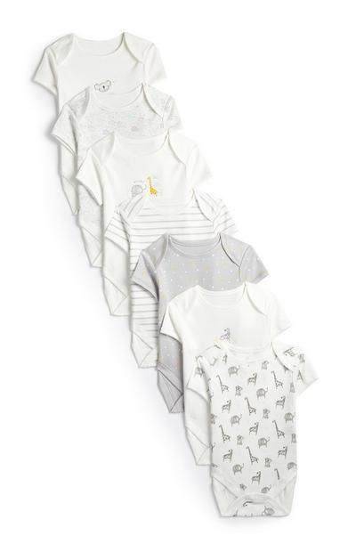 Bodi s kratkimi rokavi in safari potiskom za novorojenčke, 7 kosov