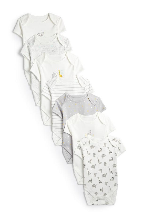 Newborn Baby Safari Print Short Sleeve Bodysuit 7pk
