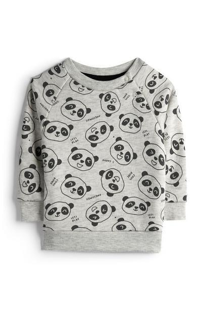 Baby Boy Grey Panda Print Crew Neck Jumper