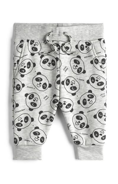 Baby Boy Gray Panda Print Jogging Pants