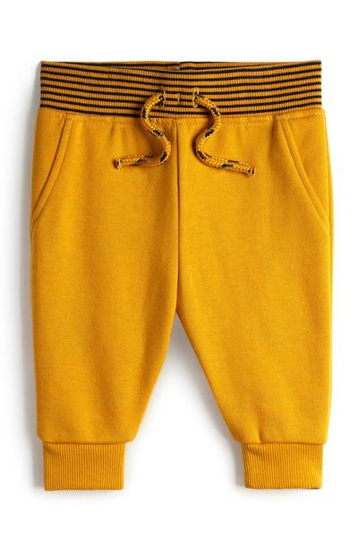 Baby Boy Mustard Striped Waistband Jogging Pants