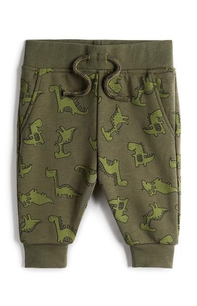Pantalón de chándal color caqui con estampado de dinosaurio para bebé niño