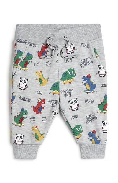 Baby Boy Panda and Dinosaur Print Jogging Pants