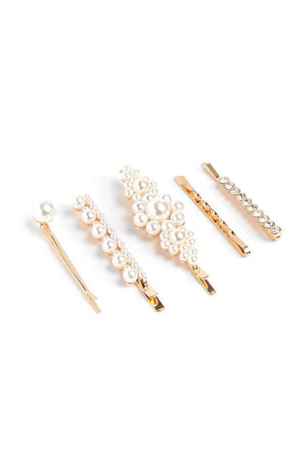Haarklammern mit Perlen, 5er-Pack