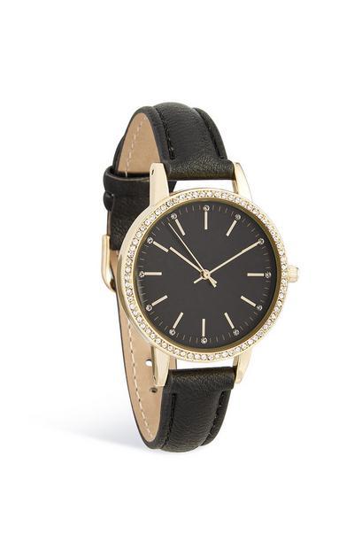 Armbanduhr mit Strass und schwarzem Ziffernblatt