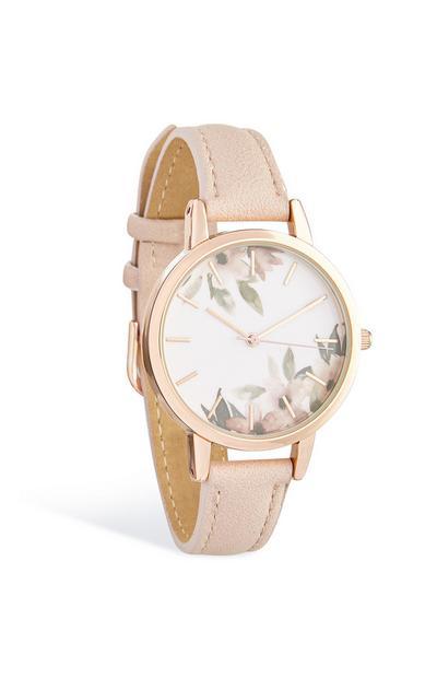 Armbanduhr mit floralem Ziffernblatt