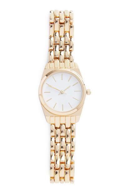 Relógio pulso corrente dourado