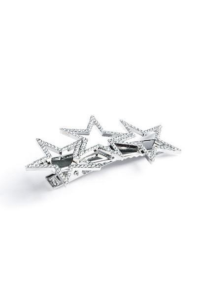 Silberne Haarspange mit Sternen