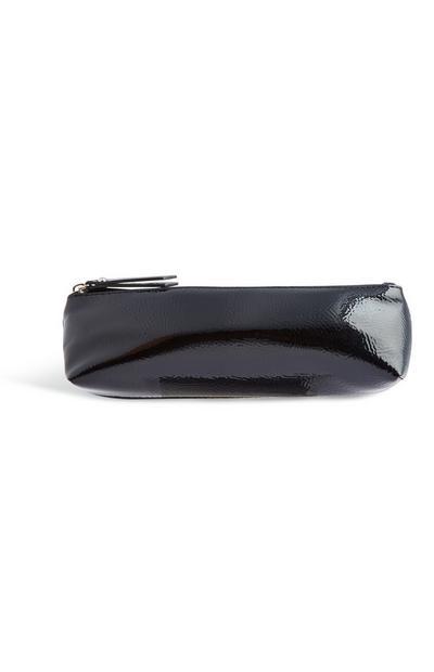 Black Patent Makeup Bag