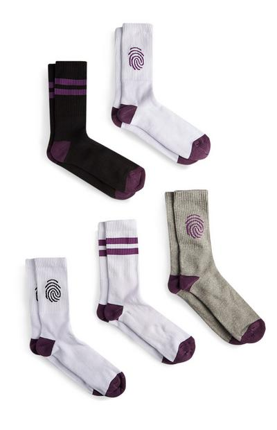 5 paia di calze sportive con impronte digitali