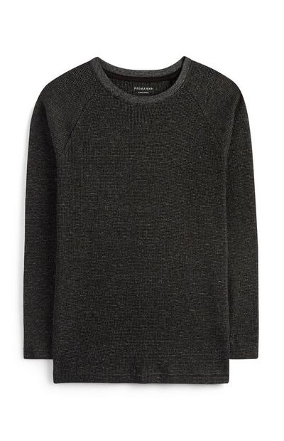 Črna teksturirana majica za starejše fante
