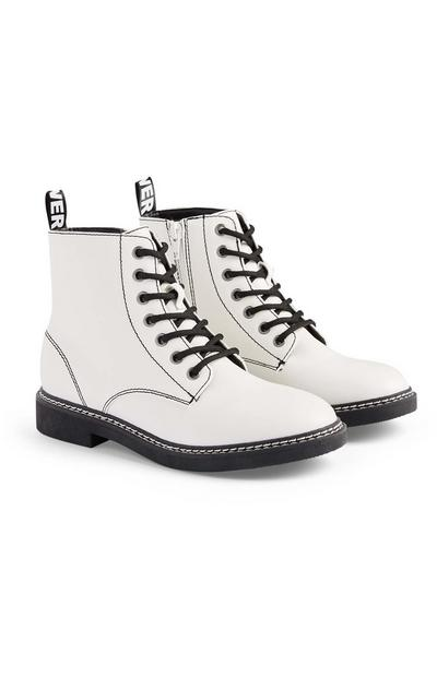 White Lace Up Boots