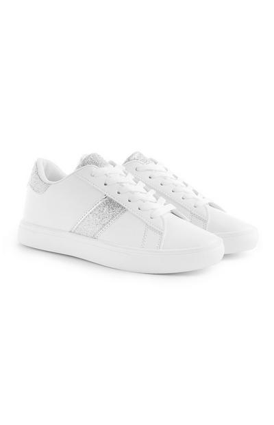 White Glitter Detail Trainers