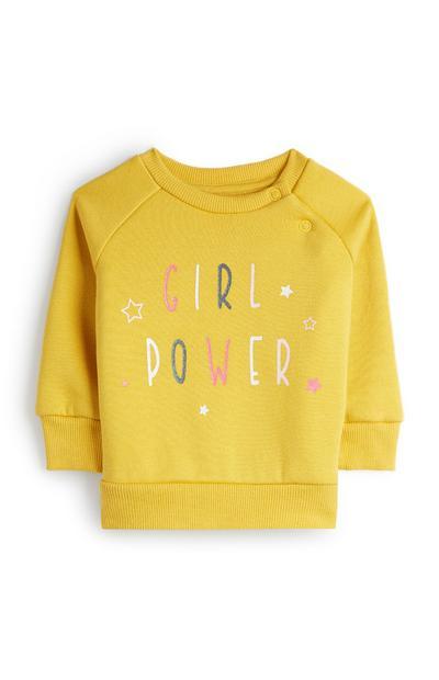 Pull jaune à col ras du cou Girl Power bébé fille