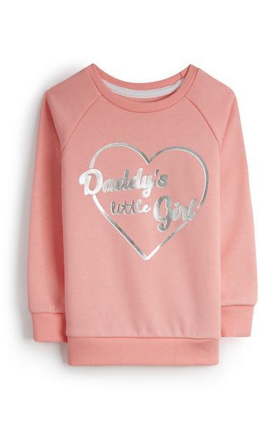 Pull rose à motif cœur Daddy's Girl bébé fille