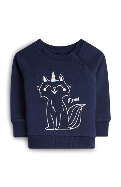 Maglia girocollo blu navy con unicorno e gatto da bambina
