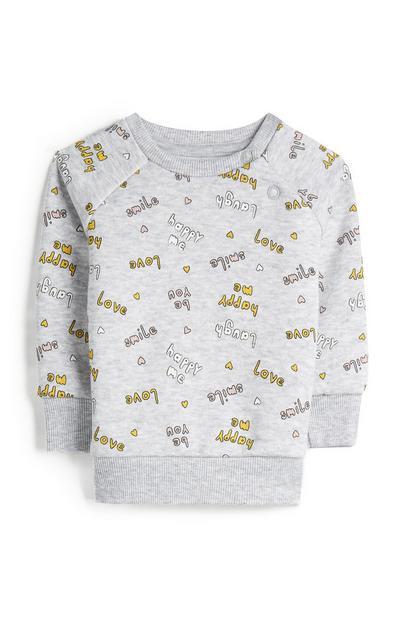 Maglione grigio girocollo con scritte Happy da bimba