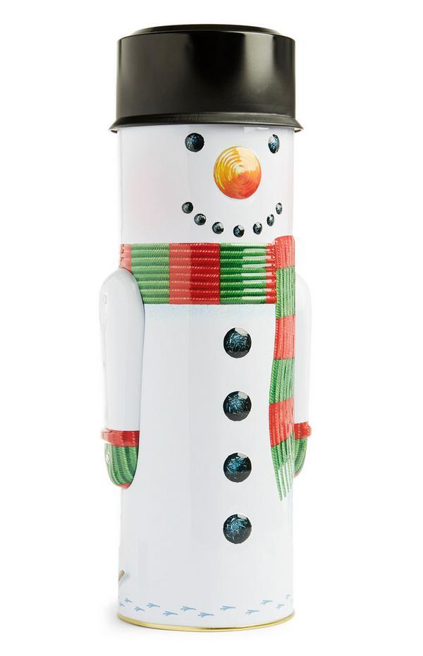 Lata biscoito boneco neve grande