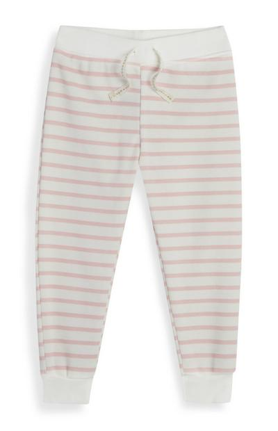 Baby Girl Ecru And Pink Striped Joggers