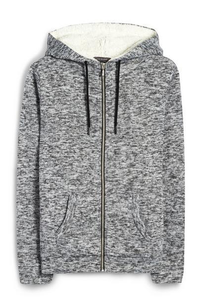 Gray Faux Fur Lined Zip Up Hoodie