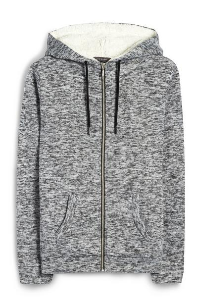 Grijze hoodie met rits en bontvoering