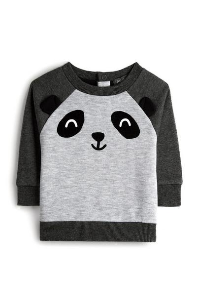 Baby Boy Panda Face Crew Neck Jumper