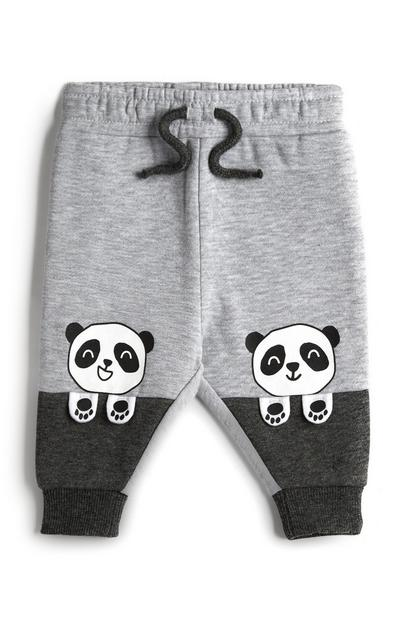Grijs-zwarte babyjoggingbroek met panda's voor jongens