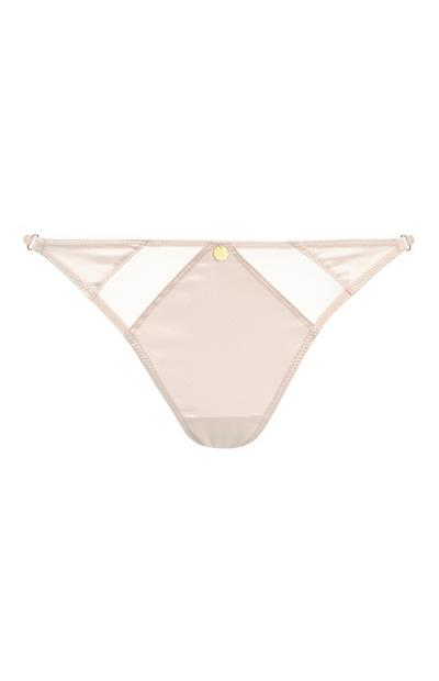 Pearl Satin Thong