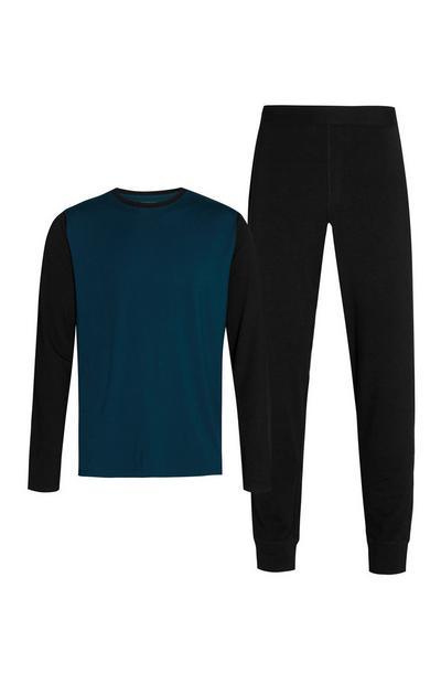 T-shirt e joggers neri e blu