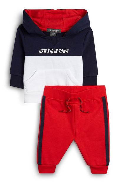 Baby Boy Red With And Navy Hoodie And Joggers