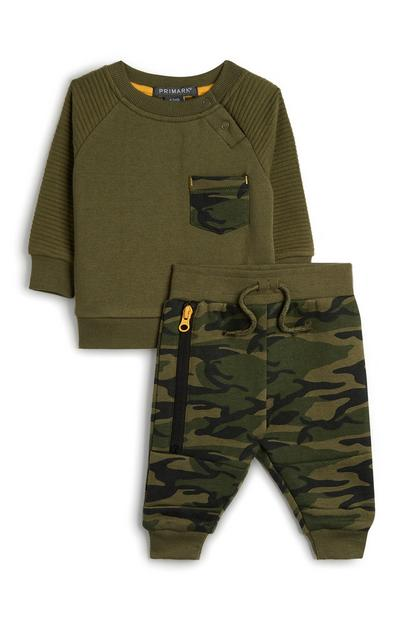 Baby Boy Green Hoodie And Camo Print Joggers