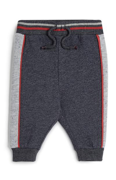 Baby Boy Grey Striped Side Joggers
