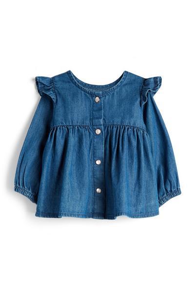 Baby Girl Button Up Denim Frill Shirt