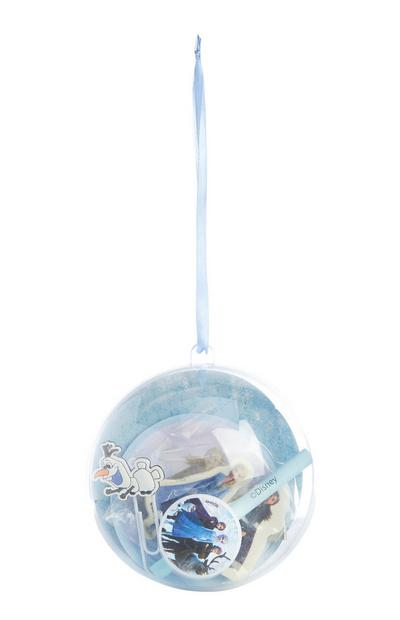 Bola de adorno con artículos de papelería en su interior de Frozen
