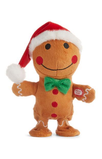 Wandelende en zingende kerstpeperkoekmannetje