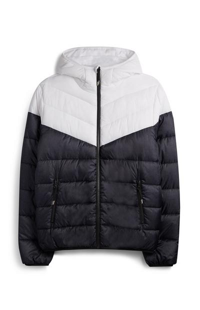 Black And White Hooded Puffer Jacket