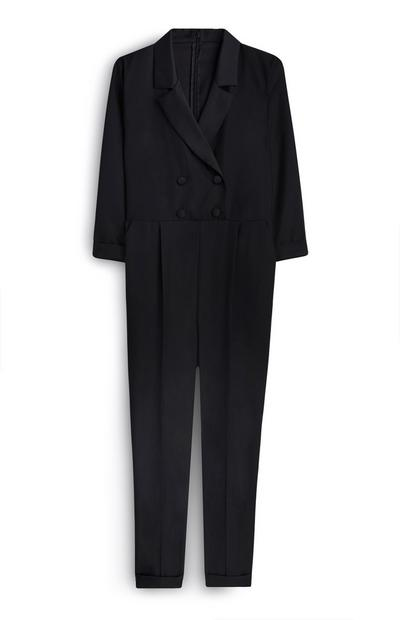 Black Double Breasted Tuxedo Jumpsuit