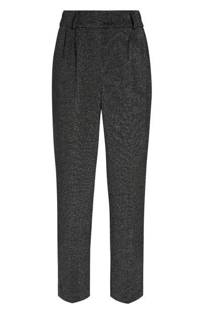 Srebrne lureks hlače z visokim pasom in ozkimi hlačnicami