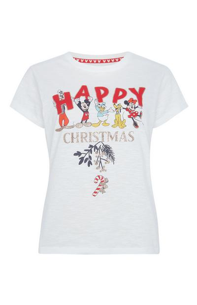 "Weißes ""Disney Characters Happy Christmas"" T-Shirt"