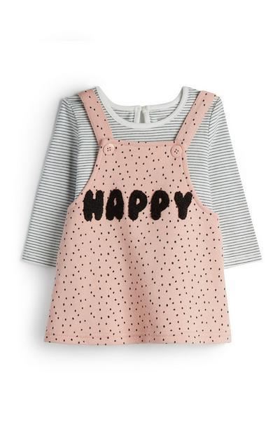 Vestido-macacão Happy cor-de-rosa/t-shirt riscas menina bebé
